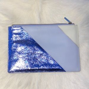 Whistles mixed metallic blue zippered pouch